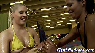 Lesbian Beauties Wrestling And Scissoring