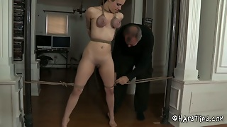 Slender Red-Haired Whore Gets Her Big Jugs Tightened With Rope