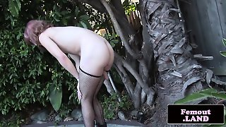 Amateur Femboy Masturbating Outdoors