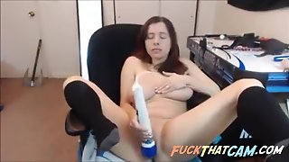 Girl With Huge Tits Drops Her Panties And Masturbates