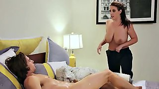 Caught Jerking Off By Busty Maid Angela White!
