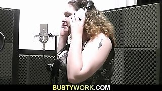 Busty Plumper Spreads For Tech Guy