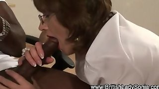 Mature Brit Femdom Interracial Blowjob Cumshot