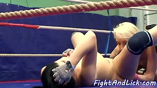 Tattooed Wrestling Lezzies Eating Pussies