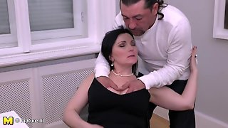Brunette Mature Seducing Strong Guy With Ponytail