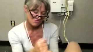 Mature Handjob Milf With Glasses Jerking