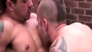 Gay Studs Rooftop Blowjobs Before Anal