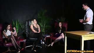 Deepthroating Cfnm Beauties Wanking Hard Dick
