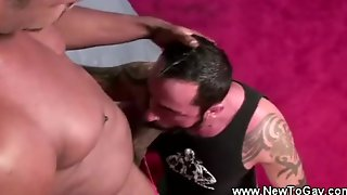 Straight Muscle First Blowjob