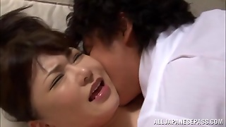 Busty Japanese Teacher Anri Okita Seduces Two Dudes