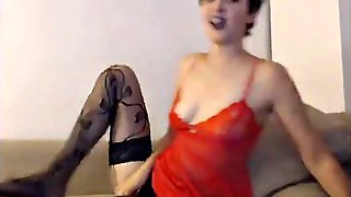 Short Haired Girl On Webcam