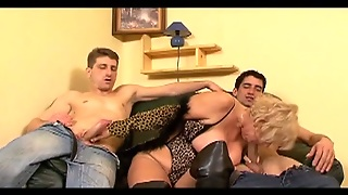Blonde Granny Easily Takes These Two Dicks In Her Mouth