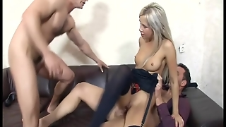 Blonde Fucking In Stockings And A Garter Belt