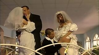 This Is A Double Marriage Day Fucking With Two Smoking Hot Brides