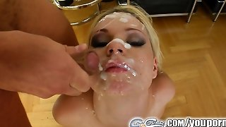 Cum For Cover Her Love For Cum Is As Plain As The Mess On Her Face