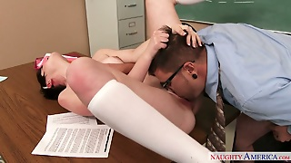 Short Haired Bitch Nora Belle Pleases Dane Cross In Classroom