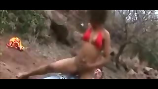 Hot Wild Afro Black Pussy Riding Outdoor