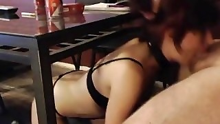 Nasty Submissive Blowjob Slutwife Deepthroats Under Table