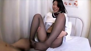 Schoolgirl In Pantyhose Getting Her Legs Fucked Giving Footjob On The Bed In The Surgery