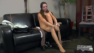 Nylon Encasement With A Skinny Milf