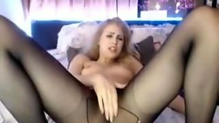 Best Blonde Webcam Squirts In Black Pantyhose Ever!