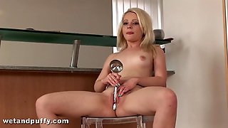 Sexy Blonde With Small Tits Inserting Massive Toys In Her Juicy Pussy