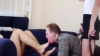 Pair Of Very Kinky Mistresses Abusing Their Submissive Slave