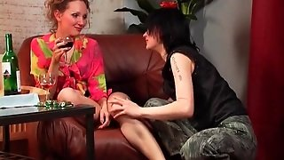 Horny Girl Strips Drunk Lesbian And Gropes Her