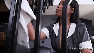Huge Tits Ebony Maid Fucks Big Cock