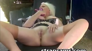 Super Horny Granny Deep Toying Outdoor