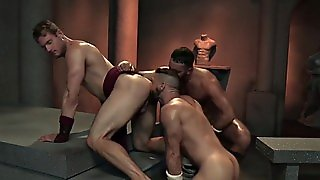Gay Muscled Threeway Fuck