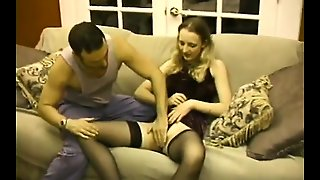 Lust In Stockings Gets Balled And Gives A Handjob