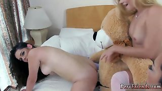 Sexy Pornstars Fucking At Party An Nearly Life Sized Teddy Suffer With A Faux-Cock Roped