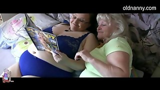 Granny With Playboy In Bedroom