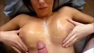 Cumming All Over Her Big Tits