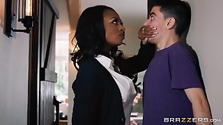 Ebony Milf Marie Fucks Her Son's White Friend Behi