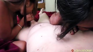 Two Asian Teens Take On One White Cock