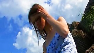 Toying And Fingering Outdoor Hole