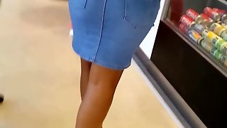 French Black Ass In Jean Skirt