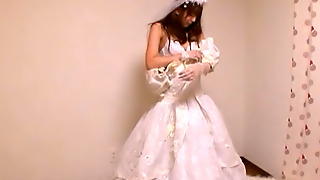 Yuu Asakura Is A Lovely Asian Teen In A Wedding Dress