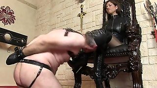 Femdom, Cfnm, Man, Boots, Leather, Mistress, Leather Boots, Leather Mistress, Licking Her, Licking