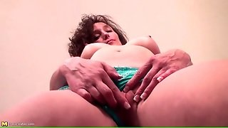 Mature Brunette In Pretty Panties Plays Solo