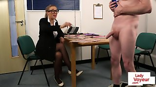 Dominant Office Babe Instructing Sub Guy