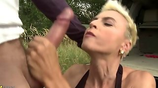 Short Blonde Haired Hot Mature Gets Banged Outdoors