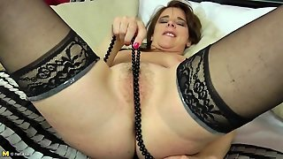 Hairy Brunette Mom Playing With Dildo