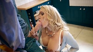 Blonde Milf And Teen Blowjob