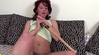 Mature Hairy Jutka Solo - Baseball Bat