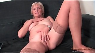Granny Strips To Stockings And Fingers Pussy