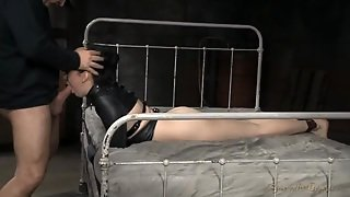 Girl Bound By A Straitjacket Is Their Hardcore Whore