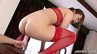 Maomi Nakazawa Squirting In Red Lingerie